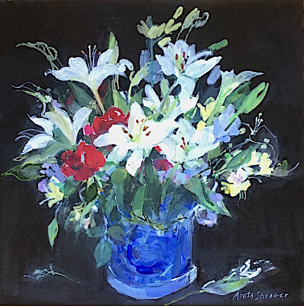 NEW!!!  ROSES & LILLIES by Anita Shrager - Look for this one at the Philadelphia Sketch Club: Art of the Flower in March 2018!