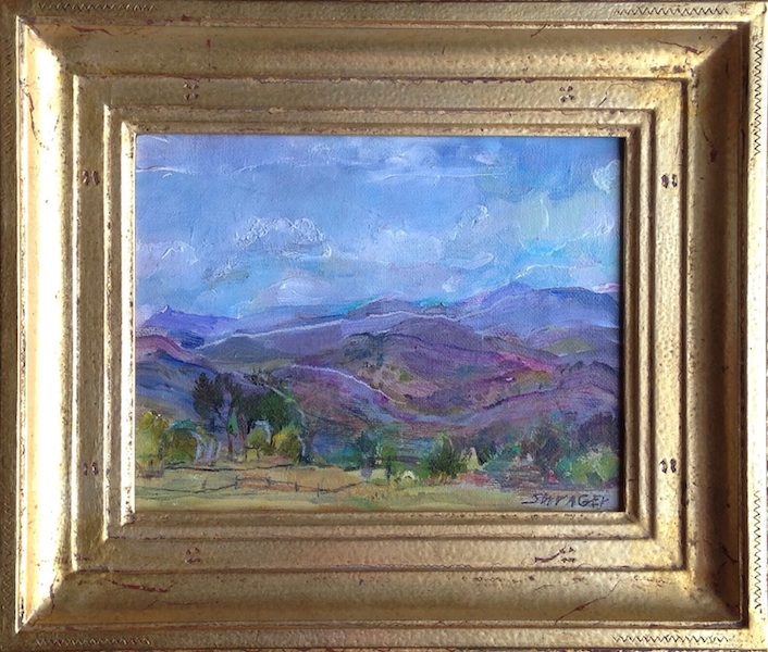 CLOUDS ROLLING IN by Anita Shrager - 7 x 9 in., o/cb, Madary frame • SOLD