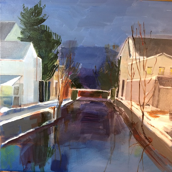 OLD CANAL AT TWILIGHT by Anita Shrager - 20 x 20 in., o/c • SOLD