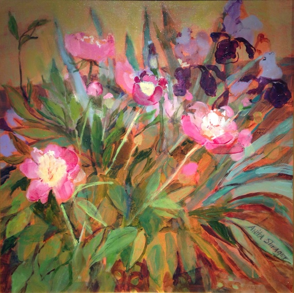 PEONIES & IRIS by Anita Shrager - 18 x 18 in., o/c • $3,000