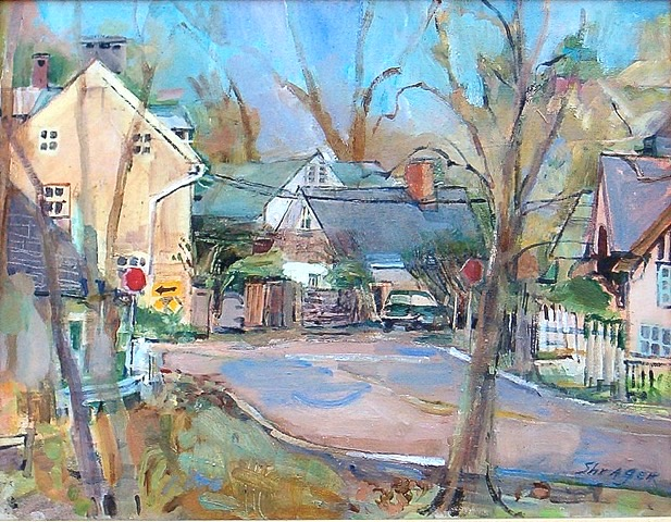 PHILLIPS MILL CORNER by Anita Shrager - 20 x 24 in., o/l • $4,000