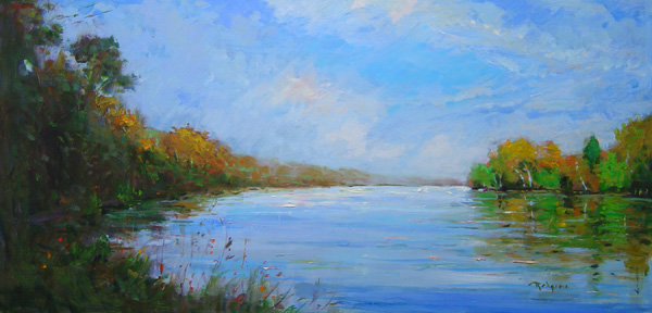 AUTUMN ON THE RIVER by Jim Rodgers - 12 x 24 in., o/b • $3,700