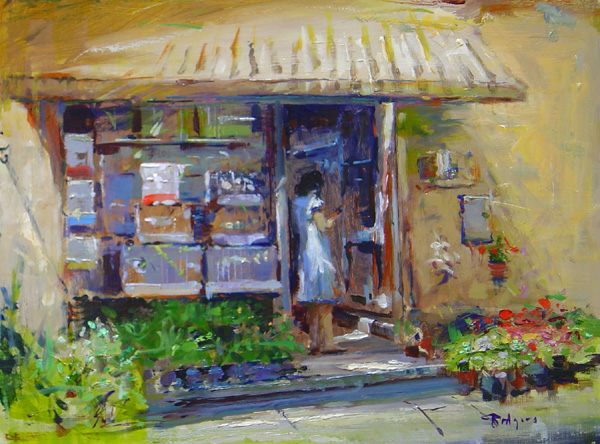 BIRD CAGES IN LUCCA by Jim Rodgers - 12 x 16 in., o/b • $2,500