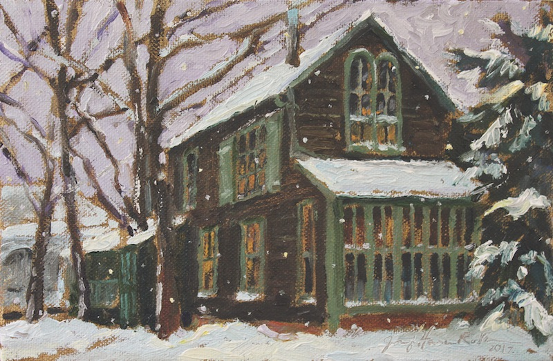 NEW! BOATHOUSE EVENING SNOWFALL by Jennifer Hansen Rolli • SOLD