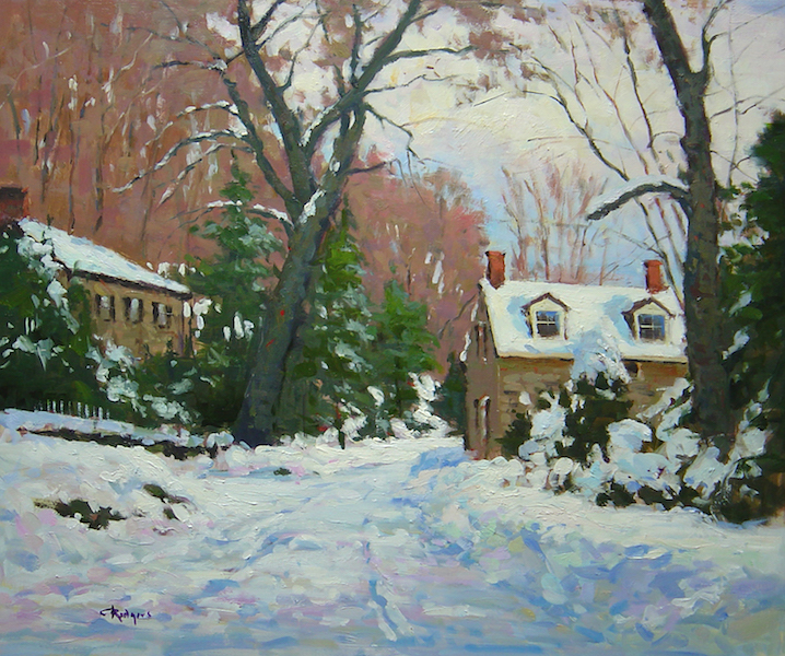 NEWLY ARRIVED!  BUCKS COUNTY BLANKETED IN SNOW by Jim Rodgers - 20 x 24 in., ob • $4,700