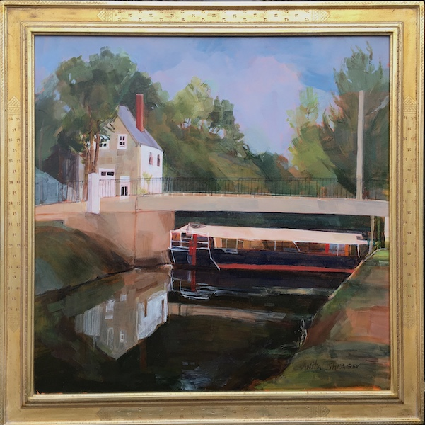 CANAL BOAT CENTERBRIDGE by Anita Shrager in Madary frame • SOLD