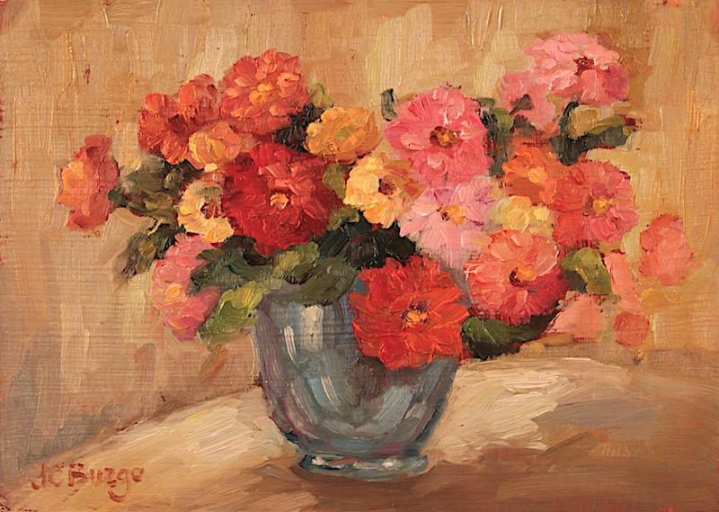 CHRYSANTHEMUMS by Jean Childs Buzgo - 5 x 7 in., o/b • $700