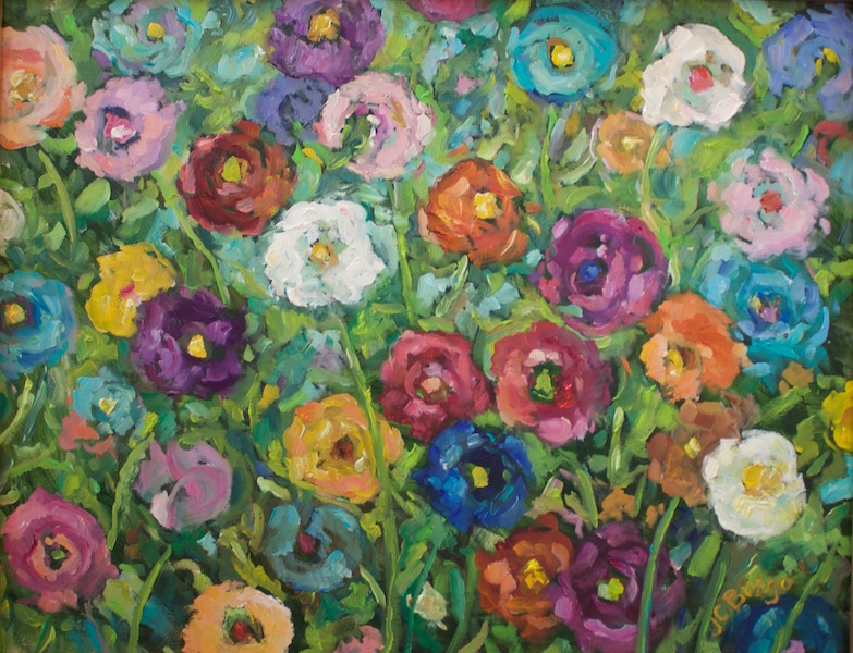 Just in! COLORFUL POPPIES by Jean Childs Buzgo - 11 x 14 in., o/b • $1,300
