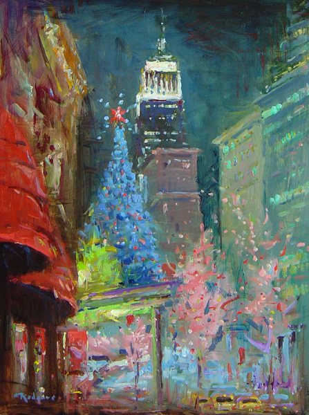 CHRISTMAS TIME, 5TH AVENUE by Jim Rodgers - 16 x 12 in., ob • $2,500