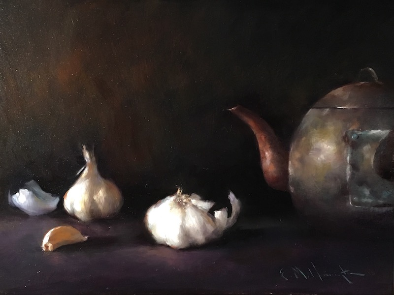 Just in: GARLIC WITH BRASS KETTLE  by Evan Harrington - 12 x 16 in., o/lb • $1,800