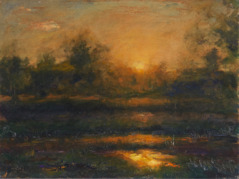 SUNSET AT POND by Desmond McRory - 18 x 24 in., o/b • SOLD