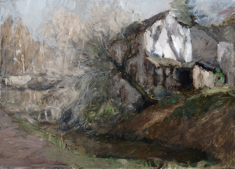 CANAL HOUSE by David Stier - 17.5 x 22 in., o/p • SOLD