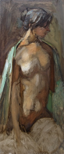 THE GREEN SHAWL by David Stier - 23 x 10 in., o/b • SOLD