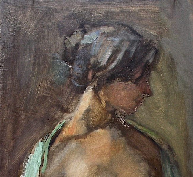 THE GREEN SHAWL by David Stier - 23 x 10 in., ob (detail) • SOLD
