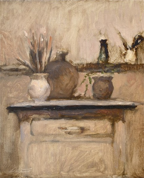 STILL LIFE WITH BRUSHES by David Stier - 13.5 x 11 in., o/p • $2,000