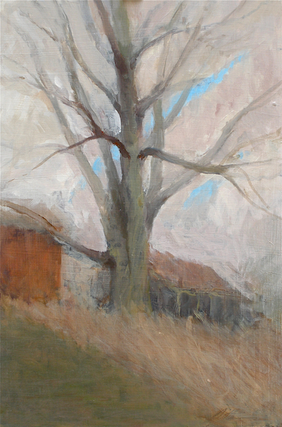 TREE WITH DILAPIDATED BARN by David Stier - 17 x 11 in., o/b • $2,400