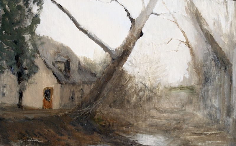 LEANING SYCAMORE by David Stier - 8 x 12 in., o/p • $2,400 • • • LOOK FOR THIS AT THE 2018 BUCKS COUNTY DESIGNER HOUSE!