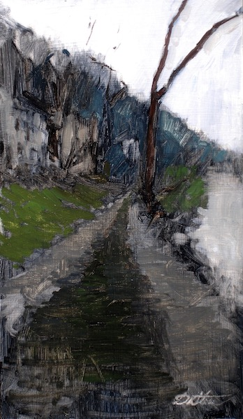 ALONG THE CANAL by David Stier - 17.25 x 10 in., o/b • $2,700