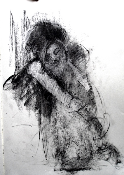 BREAKING THE POSE  charcoal drawing on paper by David Stier, 13 x 10 in. • SOLD