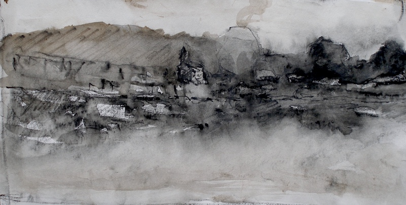 Ink Study on paper for RIVERVIEW painting by David Stier - 4.5 x 8.5 in. • $850
