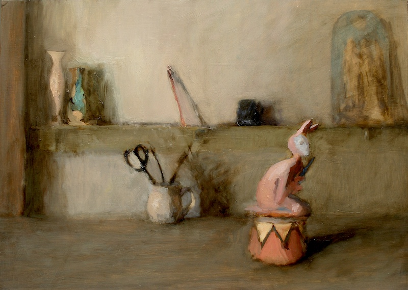 STILL LIFE WITH JESTER by David Stier - 12.25 x 17 in., o/b • SOLD