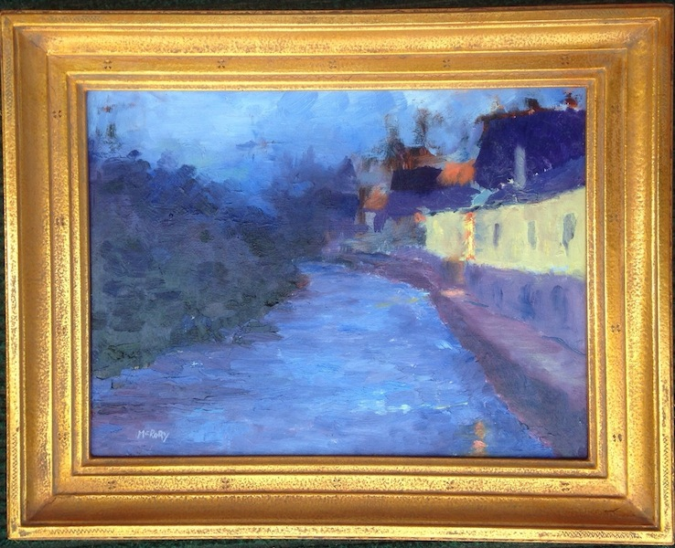 CANAL NOCTURNE by Desmond McRory - 12 x 16 in., o/b, Madary frame • SOLD