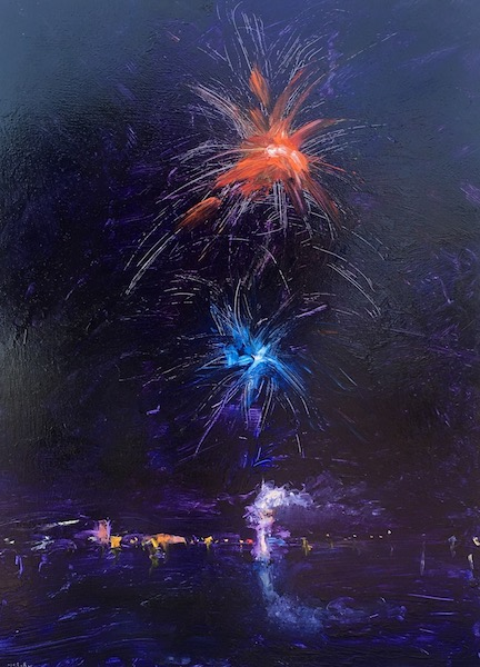 LAMBERTVILLE FIREWORKS by Desmond McRory - 24 x 18 in., o/b • SOLD
