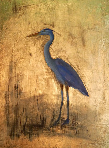 HERON GOLD by Desmond McRory - 24 x 18 in., oil & gold leaf on board • $2,800