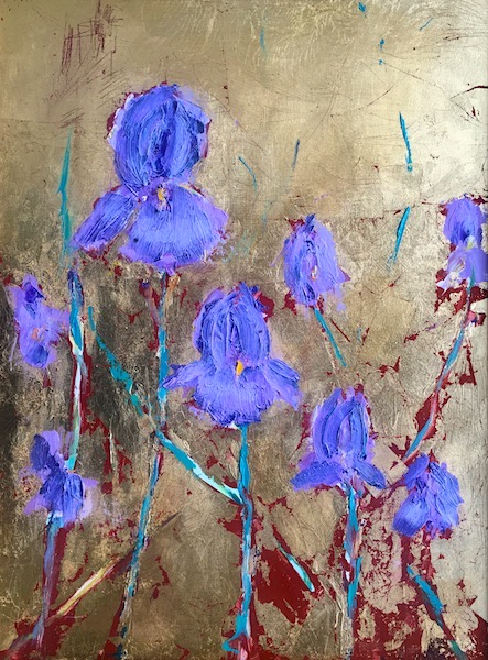 IRISES ON GOLD by Desmond McRory - 24 x 18 in., oil & gold leaf on board • $2,800