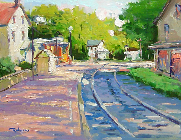 EVENING ON THE TRACKS by Jim Rodgers - 8 x 10 in., ob • $1,400