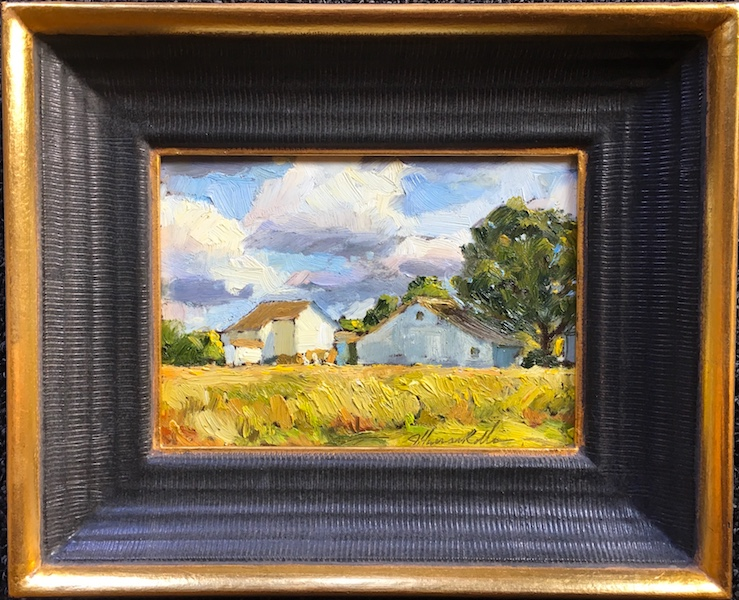FIELD OF DREAMS by Jennifer Hansen Rolli - 5 x 7 in., o/b in Madary frame • SOLD