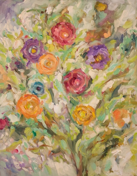 FLORAL ARRAY by Jean Childs Buzgo - 14 x 11 in., o/b • SOLD
