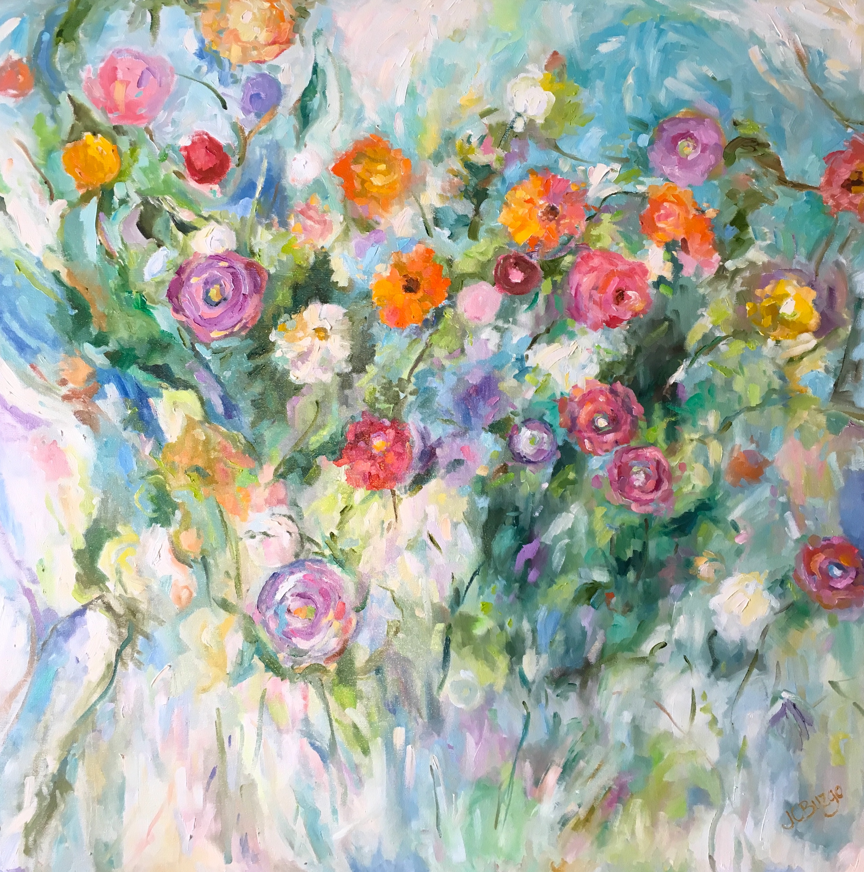 FLORAL EMBRACE by Jean Childs Buzgo - 30 x 30 in., o/c • SOLD