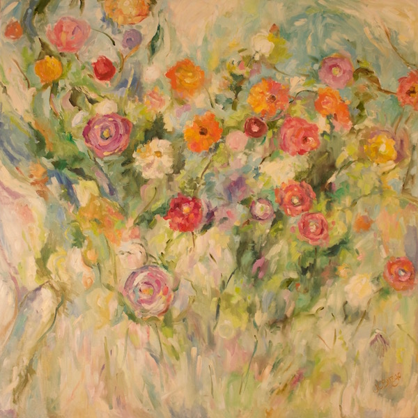 NEW!! FLORAL EMBRACE by Jean Childs Buzgo - 30 x 30 in., o/c • $4,800