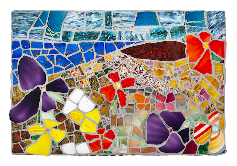 NEW:  FLORAL LANDSCAPE 2018 by Jonathan Mandell - 24 x 36 x 3 in., glass mosaic • $6,000
