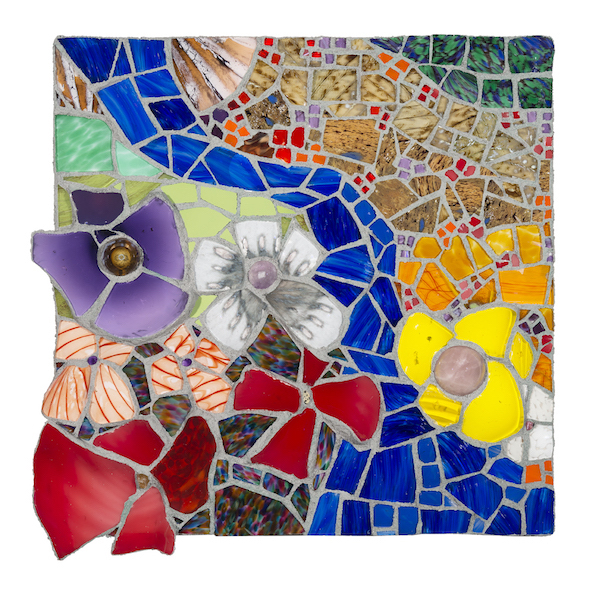 FLORAL LANDSCAPE WITH MEANDERING STREAM by Jonathan Mandell - 25 x 25 x 3 in., glass mosaic • $3,500