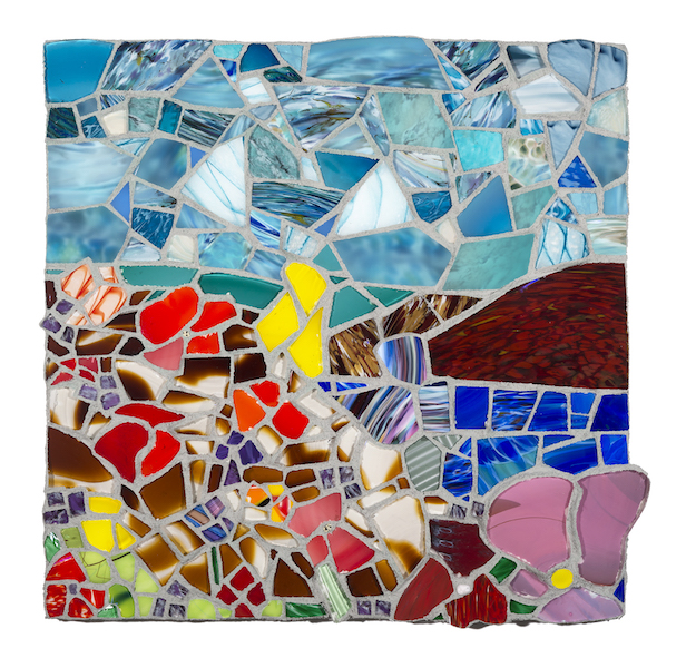 NEW!!!  FLORAL LANDSCAPE WITH MOUNTAIN by Jonathan Mandell - 25 x 25 x 3 in., glass mosaic • $3,500