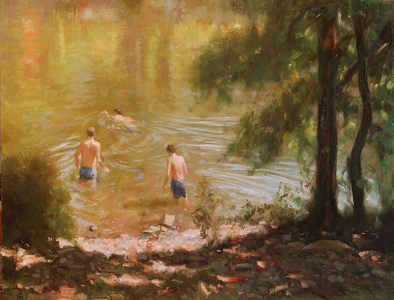 SWIMMERS ON THE RIVER by Glenn Harrington - 14 x 18 in., o/l • SOLD