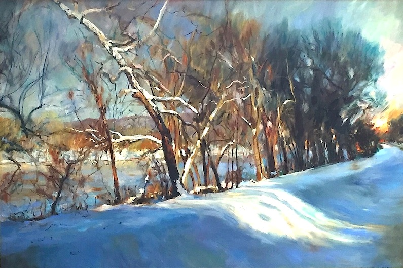 SNOW ON THE CANAL AT LUMBERVILLE by Glenn Harrington - 24 x 36 in., o/l • SOLD