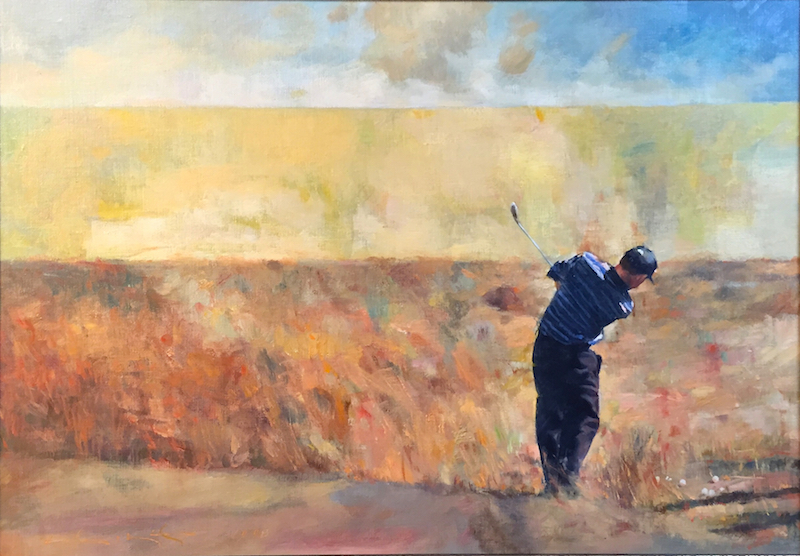 TEEING OFF (Justin Leonard) by Glenn Harrington - 18 x 24 in., o/l • $7,000
