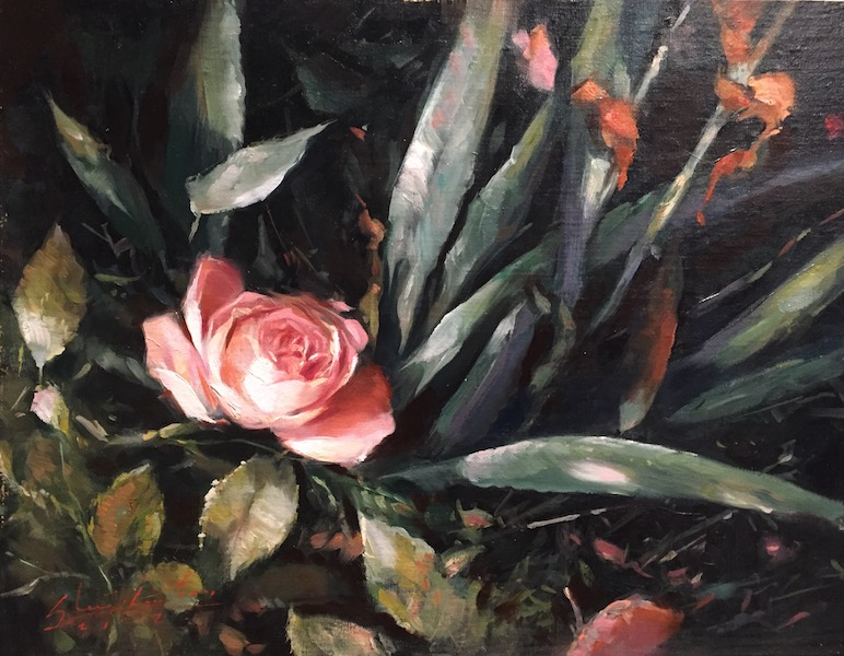 NEW DAWN ROSE by Glenn Harrington - 11 x 14 in., o/l • $4,500