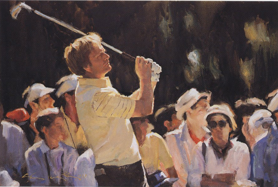 JACK NICKLAUS by Glenn Harrington - call for more information on Glenn's fine golf paintings!