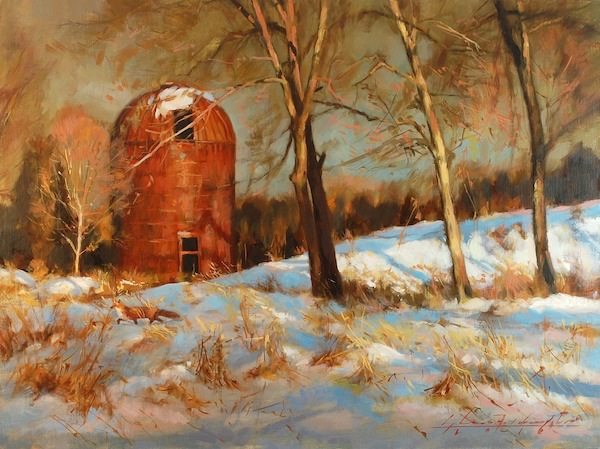 FOX AT THE SILO by Glenn Harrington - 18 x 24 in., o/l • SOLD