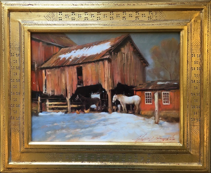 DARKHOLLOW BARN by Glenn Harrington - 9 x 12 in., o/l in Madary frame • SOLD