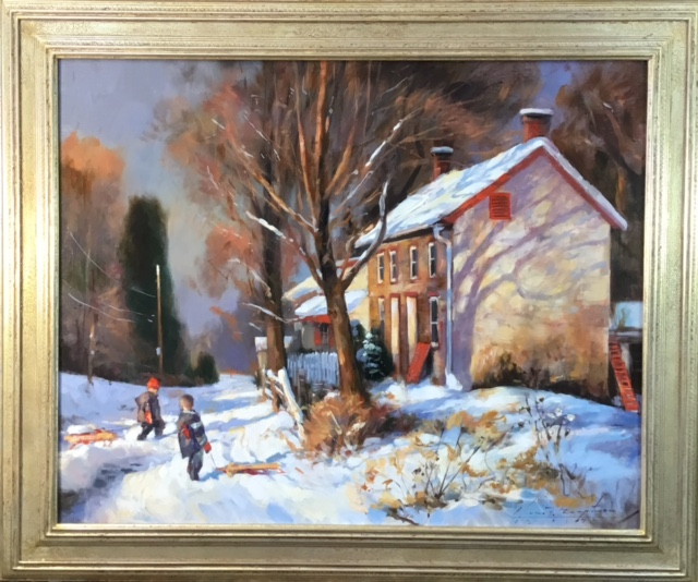 NO SCHOOL by Glenn Harrington - 24 x 30 in., o/l, shown in Madary frame • SOLD