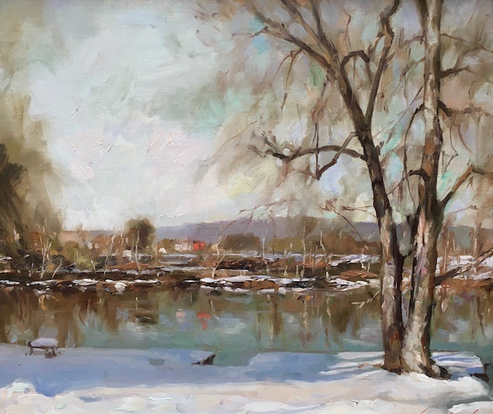 SNOW AT THE QUARRY, LUMBERVILLE by Glenn Harrington - 12 x 14 in., o/l  • SOLD