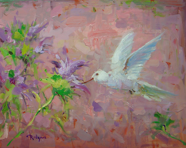 HUMMINGBIRD by Jim Rodgers - 11 x 14 in., ob • $2,300