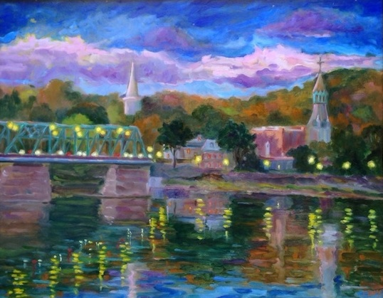 LAMBERTVILLE TWILIGHT by Jean Childs Buzgo - 16 x 20 in., o/b • SOLD