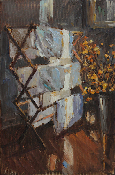 DRYING RACK by Jennifer Hansen Rolli - 9 x 6 in., o/c • $1,450 in Madary frame