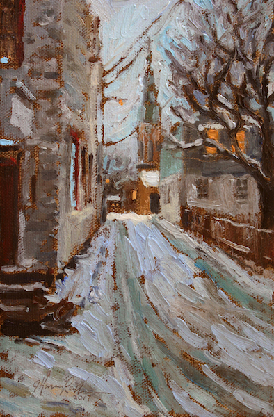 GEORGE STREET EVENING by Jennifer Hansen Rolli - 9 x 6 in., o/c • SOLD